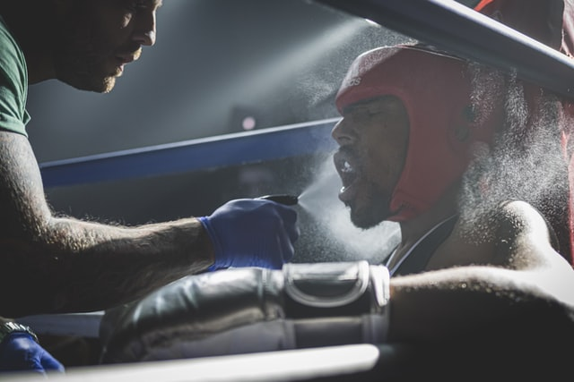 boxer in the ring on a film set in a Santa MOnica boxing gym for hire