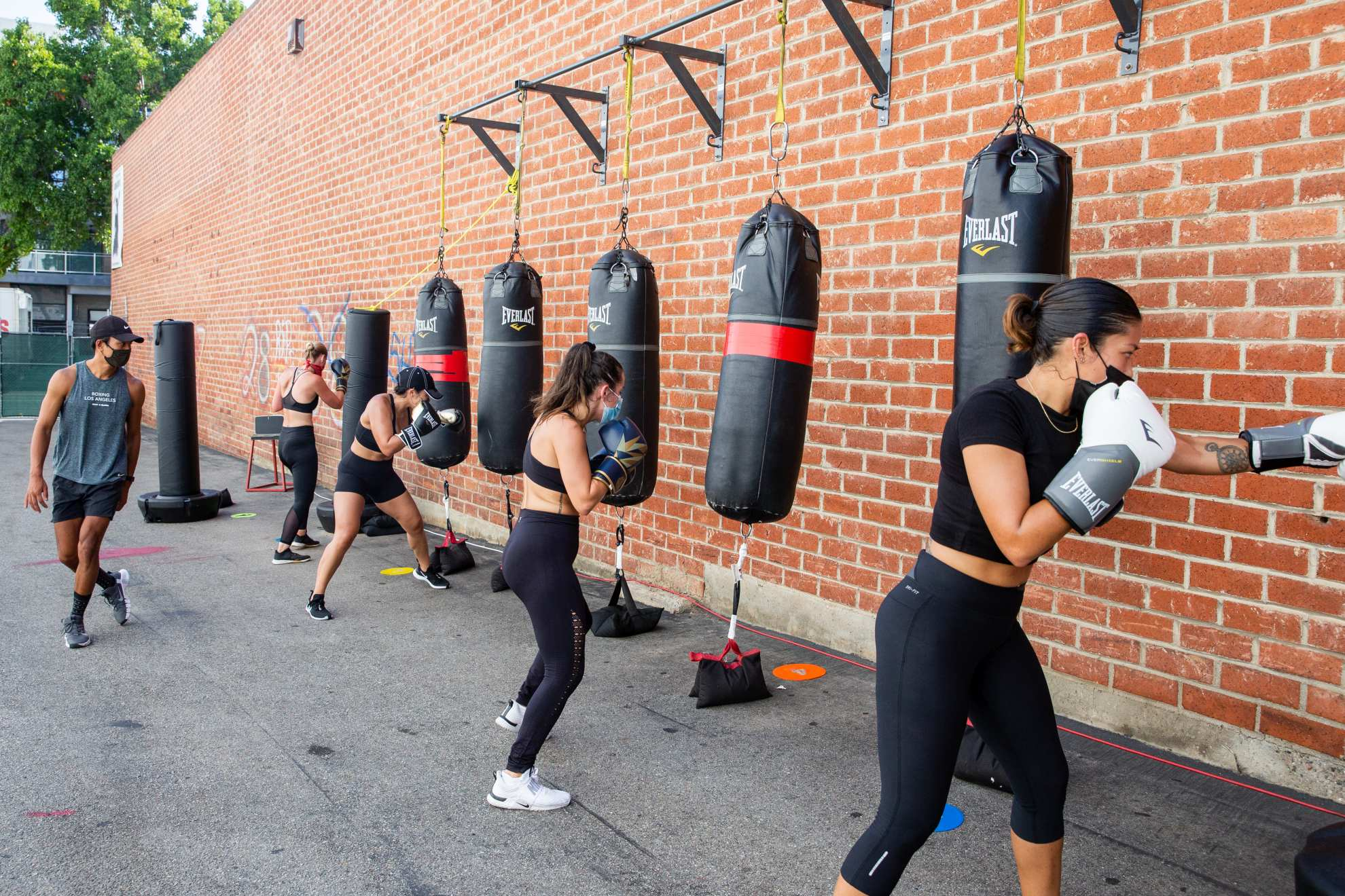 Outdoor fitness class in Santa Monica gym during Covid